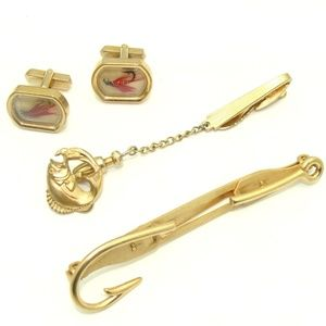 Other - Vintage fishing cuff links fish tie clip fisherman